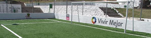 Cancha de futbol 7 con pasto sintetico con especificiaciones Sedesol Sedatu